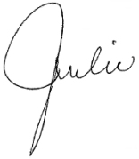 Julie's signature